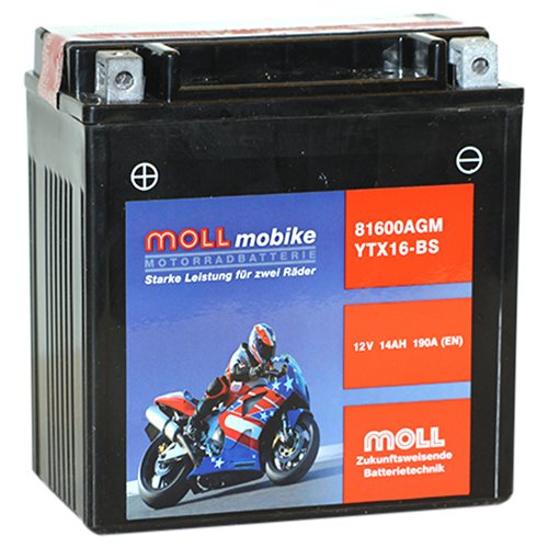 Moll mobike AGM Motorradbatterie YTX16-BS 14Ah 12V 190A - 81600
