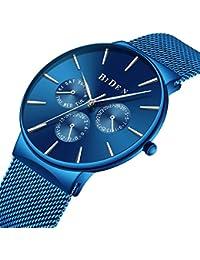 BINZI Mens Business Calendar Waterproof Watch Blue Ultra-Thin Stainless Steel Mesh Casual Quartz Watch For Men...