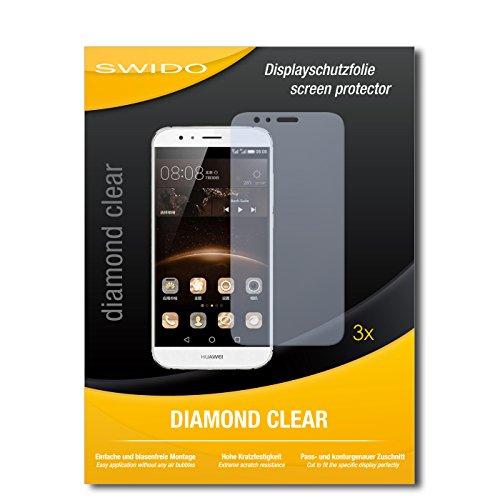 SWIDO 3 x Schutzfolie Huawei G7 Plus Bildschirmschutz Folie DiamondClear unsichtbar