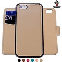 Custodia iPhone 5 5S SE, SHANSHUI staccabile Case in Pelle Con Magnete Supporto Stand in blocco RFID Portafoglio Porta Carte e Protettiva Flip Portafoglio Flip Case (Cachi Khaki) - Ivory Pearl Carta