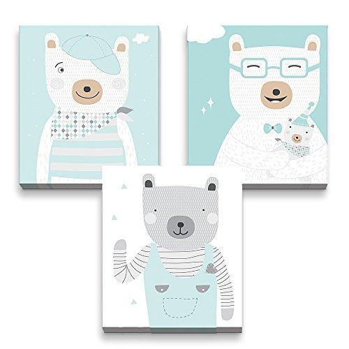 luvel® - (M54) 3 x 3D-Poster, Kinderposter mit 3D Effekt fürs Kinderzimmer 17 x 20 cm - Wanddeko Kinderzimmer (mintgrüne-Bären)