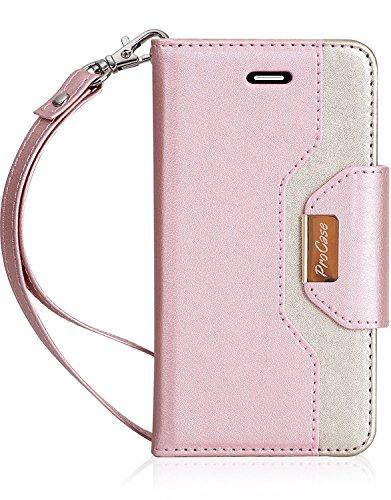 iPhone SE / 5S Case Cover, ProCase Geldbörse Flip Case, mit Armband Armband, eingebaute Card Slots und Spiegel, stilvolle Slim Stand Cover für Apple iPhone SE / 5S -Rosa (Rosa Iphone 5s Armband)