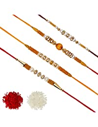 Aheli Pack of 4 Rakhi for Men with Roli Chawal Tilak - AD Pearl Wooden & Pearl AD Ring ( R4P06)