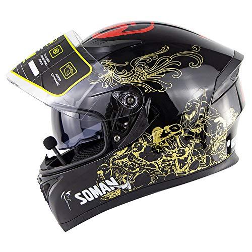 WLJBY Motorrad Bluetooth Integralhelme Modular Dual Visier Anti-Fog Klappen Sie eingebaute Lautsprecher Headset Mikrofon für die automatische Beantwortung DOT-Zertifizierung,XXL