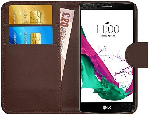 G-shield cover per lg g4, custodia portafoglio in pelle con porta carte, marrone