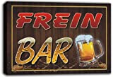 scw3-045855 FREIN Name Home Bar Pub Beer Mugs Stretched Canvas Print Sign