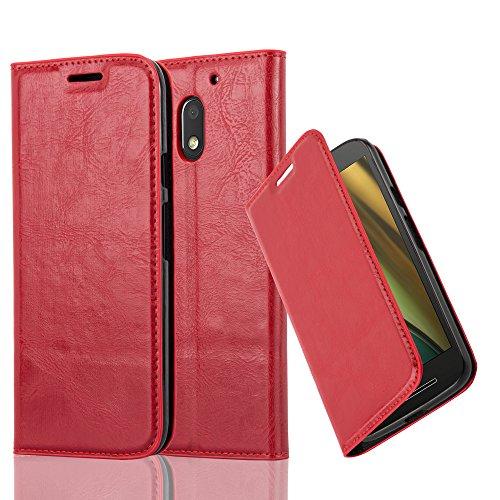 Cadorabo Hülle für Motorola Moto E3 - Hülle in Apfel ROT – Handyhülle mit Magnetverschluss, Standfunktion und Kartenfach - Case Cover Schutzhülle Etui Tasche Book Klapp Style