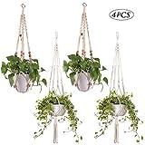 JNCH 4 STK Makramee Blumenampel Hängeampel für Blumen Innen Außen Hängender Blumentopf Aufhänger Hängend Pflanzenhänger (Stil 2)