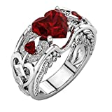 Jewelry for Women BURFLY® Silver Natural Ruby Gemstones Birthstone Rings, Bride Wedding Engagement Heart Rings, Gift for her (7-(17mm), Red)
