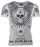 Black Rock T-Shirt - Totenkopf - Skull - Cash Flow - mit Strass Steinen (XL, Weiß)