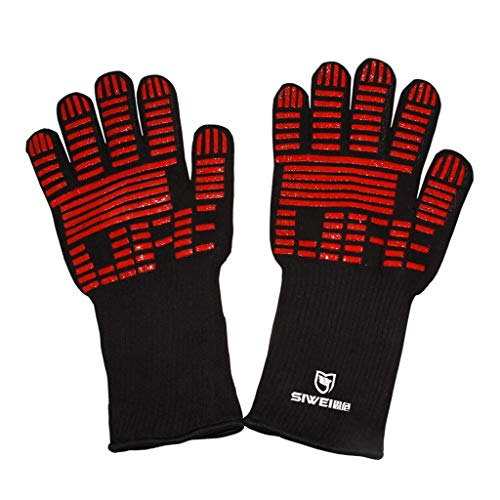 QIAO BBQ Gloves High Temperature Double Oven BBQ Long Gloves 35CM (Color : BLACK)