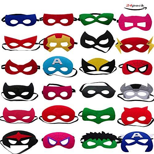 24 pezzi superhero mask lmytech maschere per bambini / corda elastica / per bambini in occasione di feste di compleanno, recite, carnevale, giochi di ruolo, giochi con supereroi