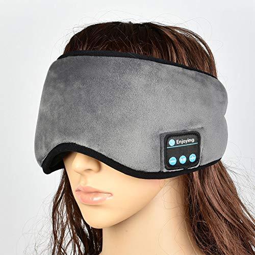 Augenmaske zum Hören von Musik, tragbar für iPhone, iPad, iPod, Samsung, Bluetooth, zum Schlafen, kabellos, Schatten, Reisen, Entspannung, grau
