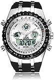 Binzi Orologio militare digitale da uomo impermeabile orologio sportivo uomo al quarzo con doppio display con fondo nero cinturino in silicone