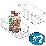 mDesign Juego de 2 cajas de almacenaje para nevera y congelador – Envases de plástico para alimentos – Prácticos contenedores de plástico con asas incorporadas – transparente