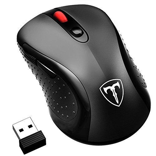 Wireless Mouse, (Slim & Noiseless, DPI Adjustable) Patuoxun 2.4G USB Wireless Mice Optical PC Laptop Computer Cordless Mouse with Nano Receiver, 1600 DPI 3 Adjustment Levels Full Size Mouse, Home & Office for Windows Mac Linux Vista Macbook – Super Energy Saving, Black