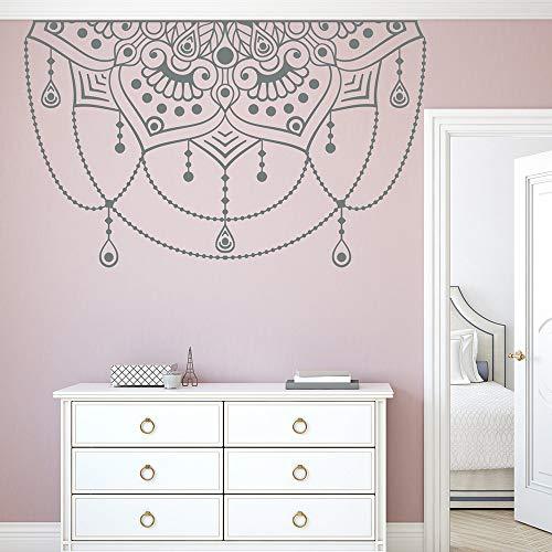 Ajcwhml Kunst Kopfteil dekorative Wandaufkleber Vinyl Mandala Wandtattoos Halbmandala Yoga Studio Dekoration Aufkleber Schlafzimmeraufkleber 178cm x 110cm -