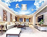 Wapel 3D Tapete Wohnzimmer Sky Blue Cloud Taube Decke Stil Tapete Custom Tapete Murals Home Decoration Seidenstoff 180x130CM