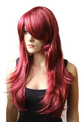 PRETTYSHOP Fasching Karneval Perücke Wig Cosplay rosa pink rot schwarz blond weiß gelb orange div.Farben (Halloween Rote Augen Kontakte)