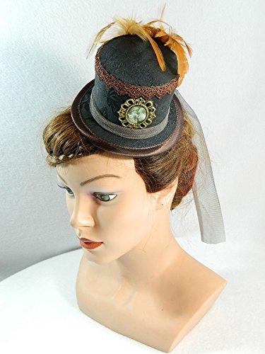 Mini Zylinder schwarz braun Minihat Damenhut Fascinator Hut Steampunk Dieselpunk Bibi Chapeau Hat Wedding Bridal Gothic (Kostüme Dieselpunk)