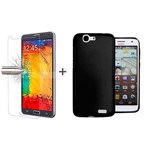 TBOC® Pack: Schwarz Gel TPU Hülle + Hartglas Schutzfolie für Huawei Ascend G7. Ultradünn Flexibel Silikonhülle. Panzerglas Bildschirmschutz in Kristallklar in Premium Qualität.