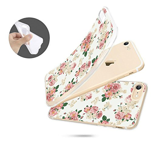 finoo | iPhone 8 Plus Weiche flexible Silikon-Handy-Hülle | Transparente TPU Cover Schale mit Motiv | Tasche Case Etui mit Ultra Slim Rundum-schutz | Princess white Rosen