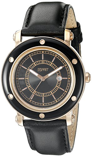 Esprit Women's Quartz Watch Deco Rosegold Black ES104042006 with Leather Strap
