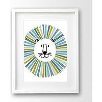 Kinder Poster ungerahmt, Löwe Kopf türkis und gelb