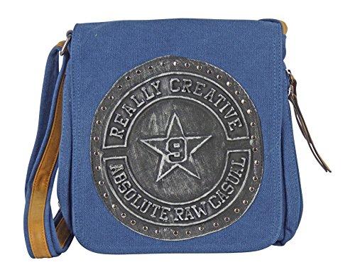 Canvas Tasche mit aufgenähten Patches 3D Emblem - Maße 28 x 29 cm - unisex Damen Herren Teenager Tasche blau/EMB