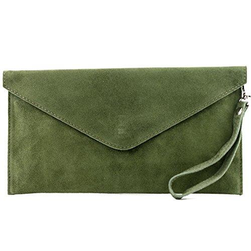 modamoda de - T106 - ital Clutch/Abendtasche aus Wildleder, Farbe:ArmeeGrün
