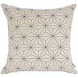 Elviros decorativo moderno escandinavo diseño geométrico acuarela manta funda de almohada en blanco y negro 18 x 45,72 cm suave algodón de lino