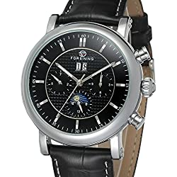Forsining Men's Business Automatic Calendar Moon Phase Dail Brand Leather Strap Wrist Watch FSG553M3S2