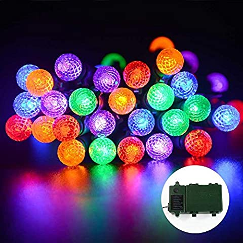 lederTEK Super Bright Battery Powered Fairy String Lights at 50 LED 13.1ft with Auto Timer and 8 Lighting Modes, Waterproof Christmas Decorative Lamps for Outdoor, Garden, Home, Wedding, Xmas Tree New Year Party (50 LED G12