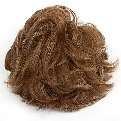 TRIXES Perruque Blonde Dorée Cheveux Courts Ondulés Fête Costumade Déguisement