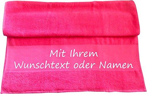 Handtuch mit Ihrem Wunschtext oder Namen 100 x 50 cm / Fb. Pink