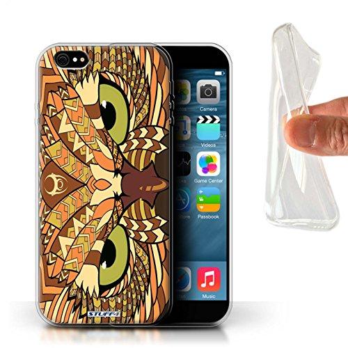 Stuff4 Gel TPU Hülle / Case für Apple iPhone X/10 / Tiger-Rot Muster / Aztec Tier Muster Kollektion Eule-Orange