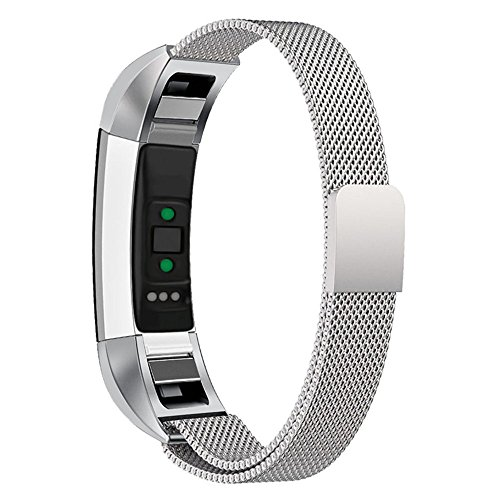 MYQyiyi myqyiyi Milanese-Armband Edelstahl Smartwatch für Fitbit-HR (Silber)