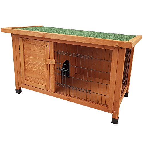Hasenstall ZOTTEL 1 Kaninchenstall aus FSC Holz Kaninchenkäfig Hasenkäfig Käfig Stall Dach aufklappbar