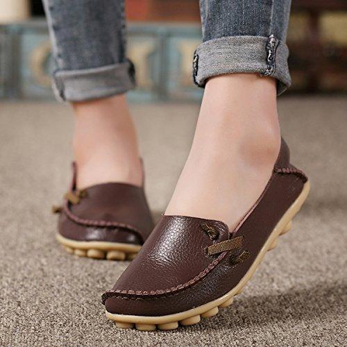 IFashion Damen Leder Mokassin Bootsschuhe Slip on Loafers Slipper Flats Low-top Erbsens Chuhe Kaffee