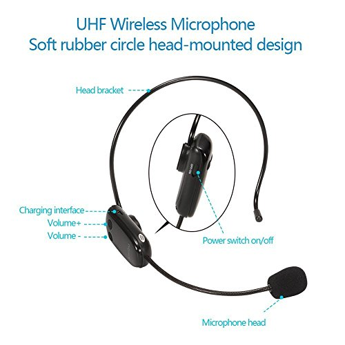 UHF Wireless Microphone Headset for SHIDU UHF Series Voice Amplifier