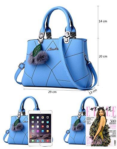 Damen Handtaschen Neue Umhängetasche Beutel PU Leder Taschen Lady Schultertasche Schwarz Helle Blau
