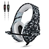 Gaming Kopfhörer - Onikuma K1-B 3,5mm über Ohr Stereo Kopfhörer Gaming mit Mikrofon Stumm In-line Noise Isolating Lautstärkeregler Headset für PS4 Xbox One PC Mac Tablet Smartphone(Camo Dunkelgrau)