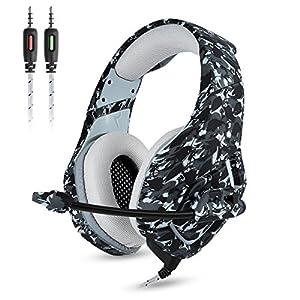 ATUTEN Gaming Kopfhörer – Onikuma K1-B 3,5mm über Ohr Stereo Kopfhörer Gaming mit Mikrofon Stumm In-line Noise Isolating Lautstärkeregler Headset für PS4 Xbox One PC Mac iPad Tablet Smartphone