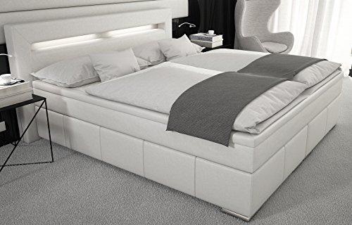 SEDEX Hotelbett 904A Boxspringbett Box 180x200cm /Doppelbett inkl. LED/Hotelbett/Kunstleder - weiß