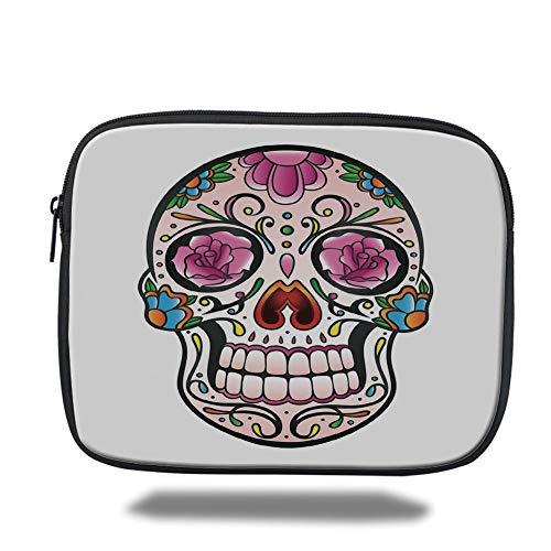 Tablet Bag for Ipad air 2/3/4/mini 9.7 inch,Sugar Skull Decor,Spooky Sugar Skull with Pink Roses Twigs Blooms Teeth Smile Halloween Decorative,Multicolor,Bag