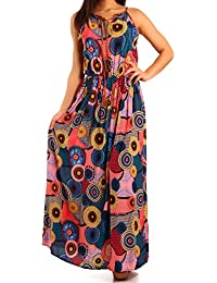 Damen Maxikleid Hippie Bohemian Allover Druck