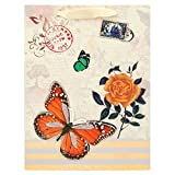 Butterfly-Gift-Bag-Bulk-Ivory-Medium-Size,-Pack-Of-6