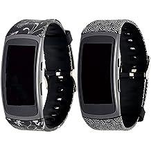 Fatetec Pulsera de reloj de silicona correas de banda de reemplazo para Samsung Galaxy Gear Fit 2 SM-R360 Reloj de pulsera inteligente (2pcs Cloud+Silver Grass)