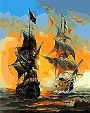 IPLST@ sin marco Pintura al óleo de DIY por los cepillos, pintura de acrílico de los números, arte de la lona de los buques de guerra-16x20inch