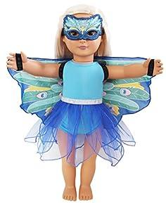 DREAMY DRESS-UPS 71258 - Juego de 4 Piezas para muñecas de 46 cm, Pavo Real (Pavo Cristatus)